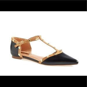 Olson Pointy Toe Studded T-Strap